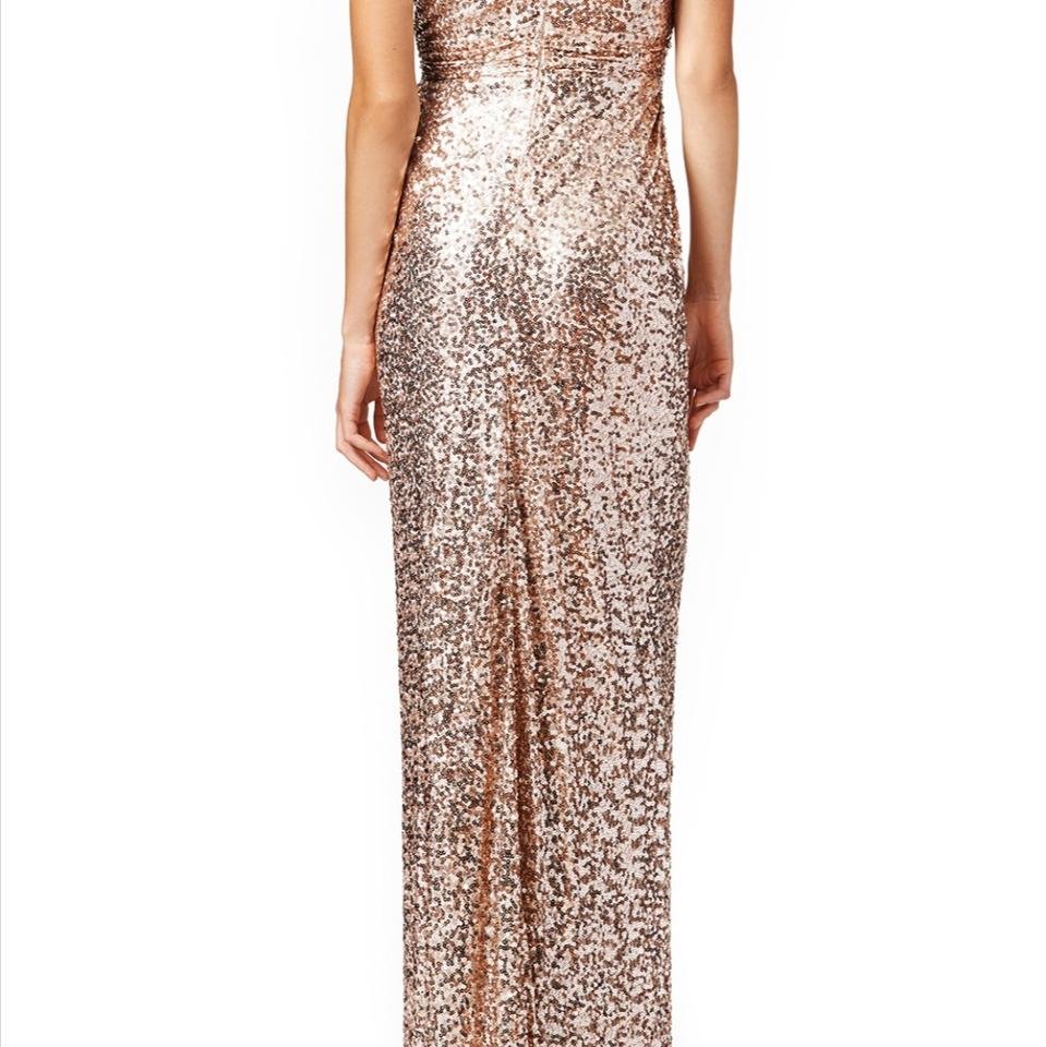 Badgley Mischka Rose Gold Glitzy Gown Long Formal Dress Size 0 (XS ...