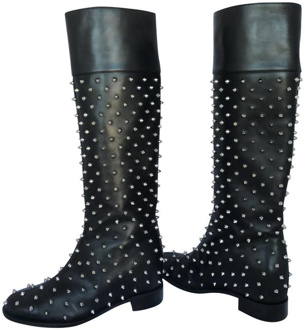 Item - Black Silver Knee High Lady Fashion Red Sole Pull On Toe Heel Spiked Leather Italy Boots/Booties Size EU 37 (Approx. US 7) Regular (M, B)