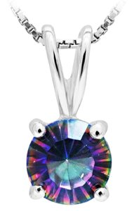 Fashion Jewelry For Everyone 925 Sterling Silver Genuine Mystical Fire Rainbow Topaz Round Pendant