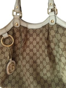 Gucci Tote in White & Brown Canvas