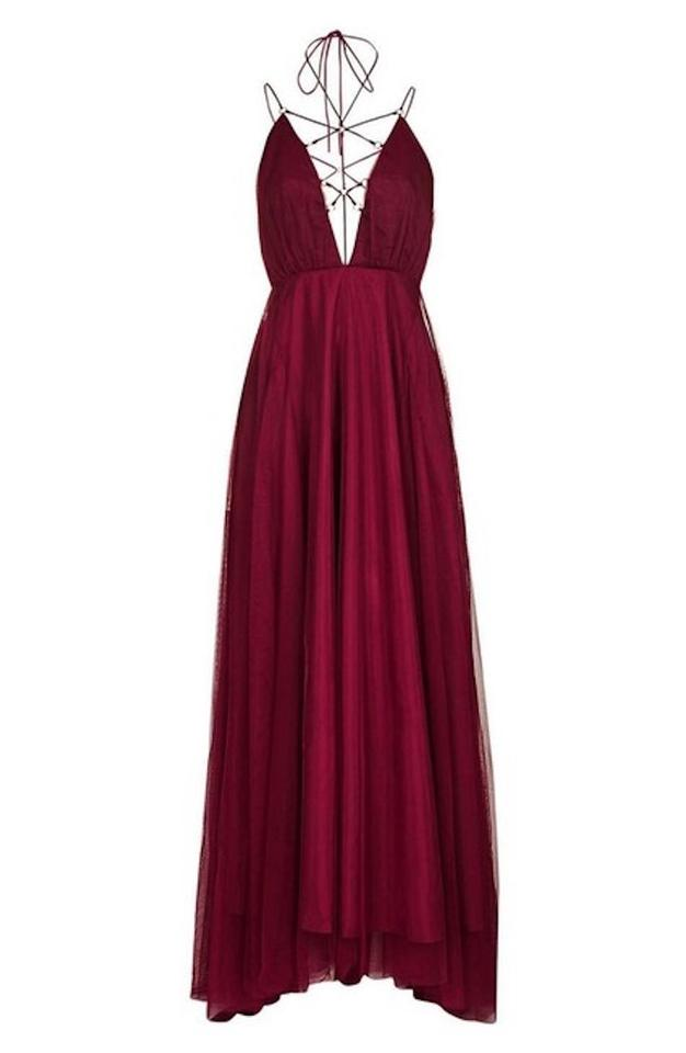 Topshop Berry Red Womens Couture Lace Up Tulle Maxi Long Formal