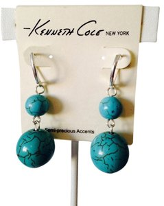 Kenneth Cole NWOT Blue Stone In Silver-Tone Dangle Earrings