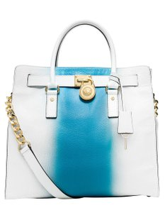 Michael Kors Convertible Purse Satchel Large North South Tote in White and Blue
