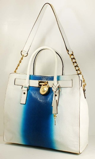 Michael Kors Convertible Purse Satchel Large North South Tote in White and Blue Image 1