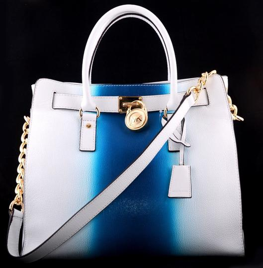 Michael Kors Convertible Purse Satchel Large North South Tote in White and Blue Image 2