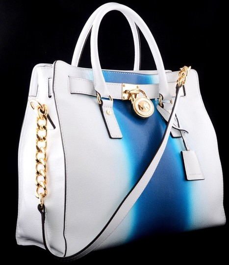 Michael Kors Convertible Purse Satchel Large North South Tote in White and Blue Image 3