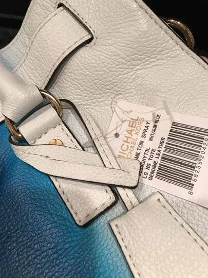 Michael Kors Convertible Purse Satchel Large North South Tote in White and Blue Image 7