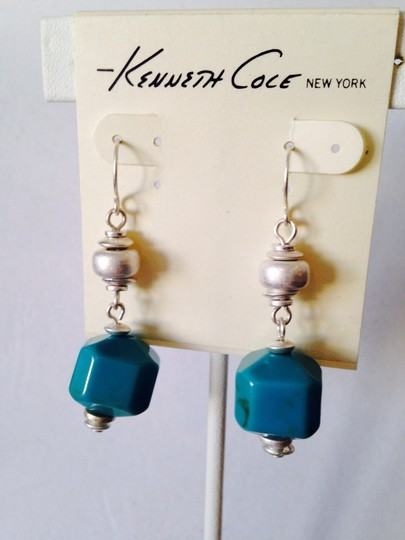 Kenneth Cole NWOT Blue Square Stone In Silver-Tone Dangle Earrings