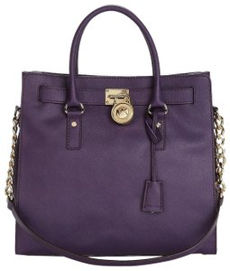 Michael Kors North South Satchel Shoulder Grape Tote in Iris Dark Purple