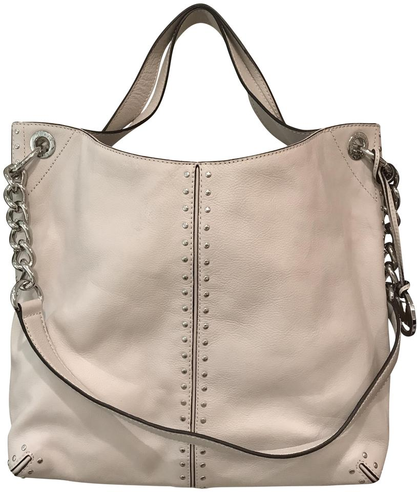 1947c871eec4 Michael Kors Uptown Astor Silver Studded Large Convertible Chain Off White  Leather Tote