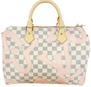 Louis Vuitton Lv Speedy Bandouliere 30 Azur Tote in White