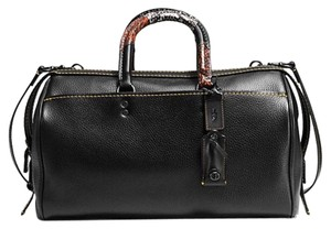 """1dc75fc729e Coach Rogue 1941 Collection In Printed Snakeskin 58689 Black Glovetanned  Pebble Leather   French Lining Pockets Exterior Pocket with Suede   Handle  Drop 5"""" ..."""