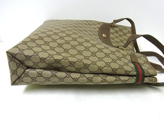 Gucci Interior Pockets Great For Everyday Excellent Vintage Tote in leather & large G logo print coated canvas in shades of brown Image 10