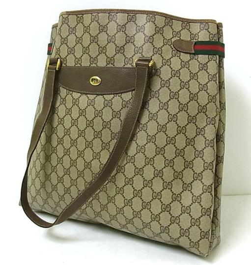 Gucci Interior Pockets Great For Everyday Excellent Vintage Tote in leather & large G logo print coated canvas in shades of brown Image 2