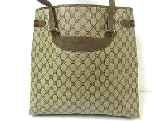 Gucci Interior Pockets Great For Everyday Excellent Vintage Tote in leather & large G logo print coated canvas in shades of brown Image 8