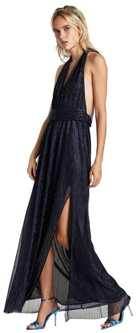 Item - Blue Halter Neck Low Cut Gown with Slit Long Formal Dress Size 12 (L)