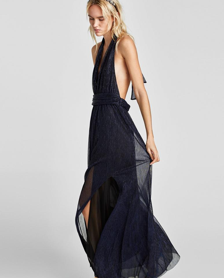 Zara Blue Halter Neck Low Cut Gown With Slit Long Formal Dress Size