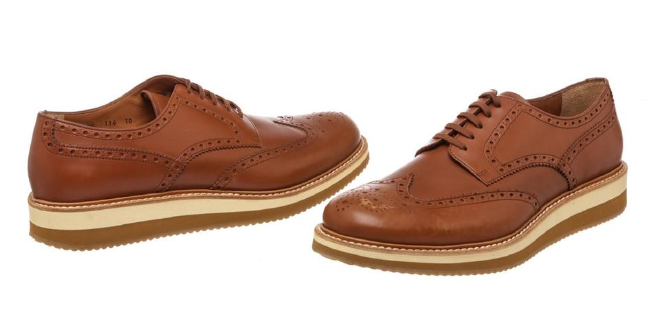 Leather Sneakers 10 Up Brown Lace 478353 Prada Brogues 4wxH8qz