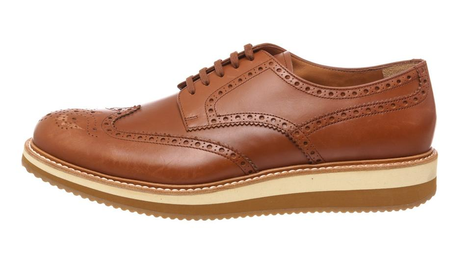 Sneakers Lace 10 Leather Brown Prada 478353 Up Brogues zwPEZ0q