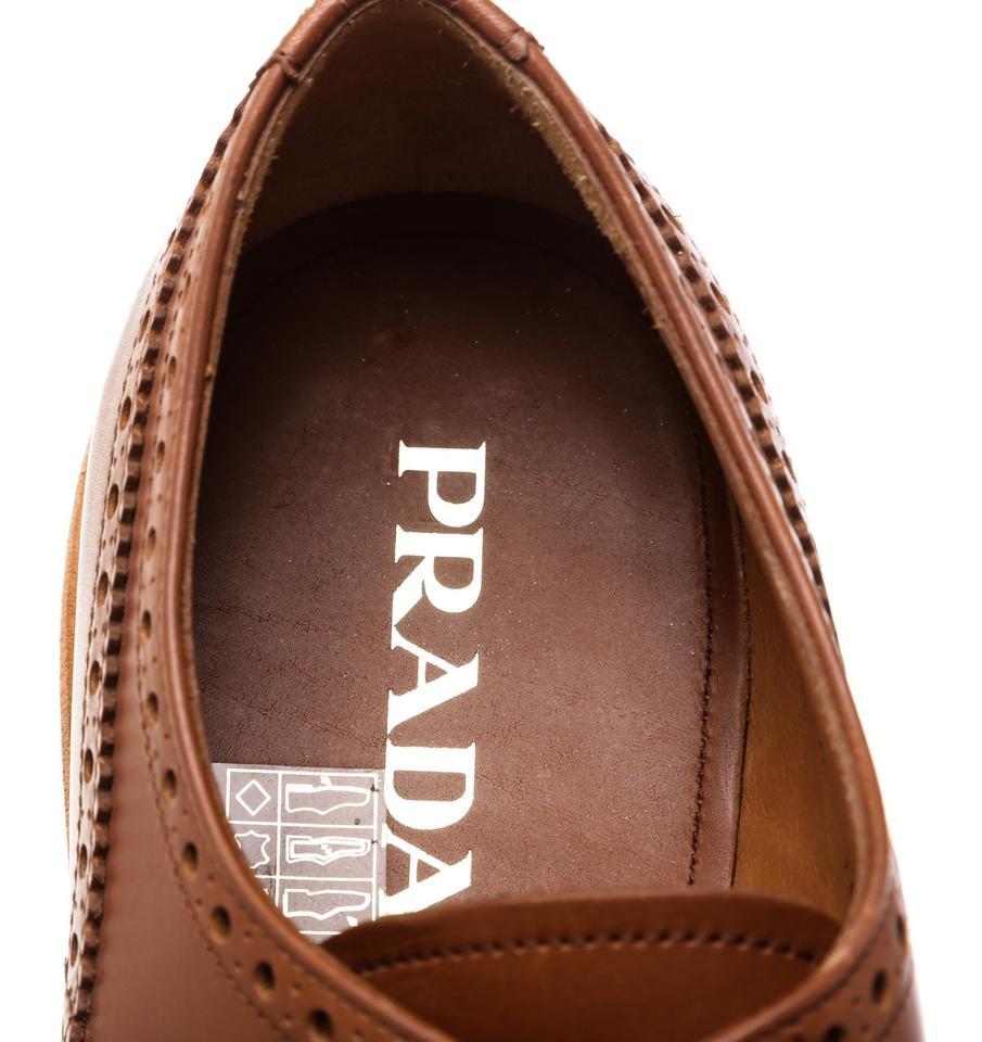 10 Prada Lace Up Brown Sneakers 478353 Leather Brogues wZ1USZa
