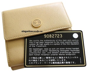Chanel Authentic Chanel Beige Leather Wallet