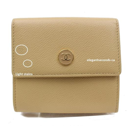 Chanel Authentic Chanel Beige Leather Wallet Image 2