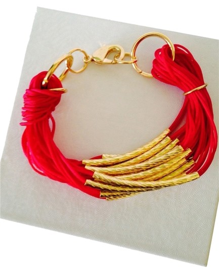 Other NWOT Red Multi Strand Cord & Gold -Tone Bars Bracelet