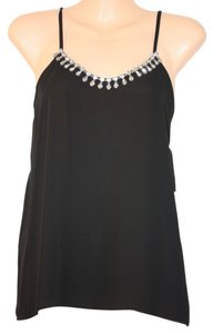 Bar III Formal Flowing Comfortable Bearly There Feel Embellished Bold Black Halter Top