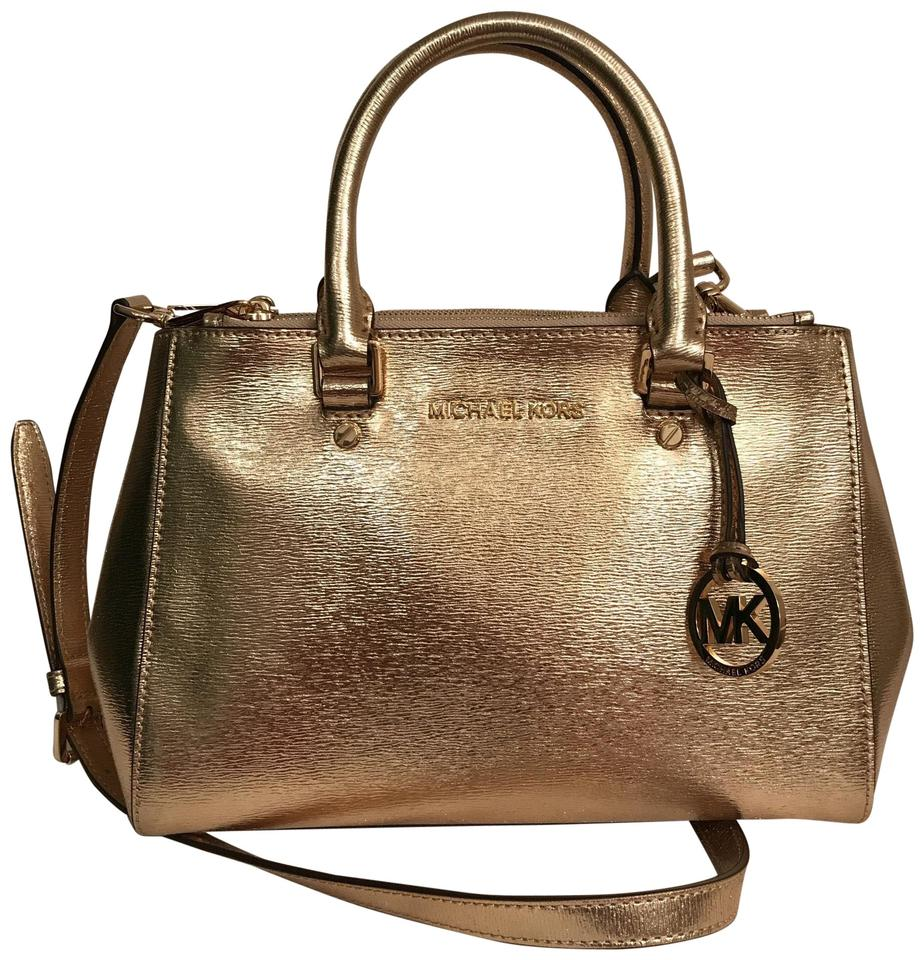 6a3509298 Michael Kors Sutton New Satchel Gold Leather Cross Body Bag - Tradesy