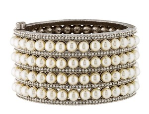 Chanel ICONIC CHANEL 2016 ROWS OF PEARL CRYSTAL JEWEL CC BANGLE CUFF BRACELET