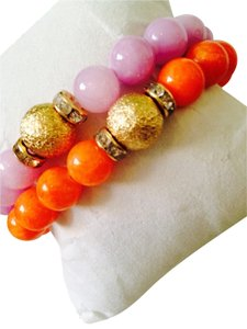 2 Piece Set Orange & Pink Gemstone Agate With Gold-Tone Crystal Bead Stretch Bracelets