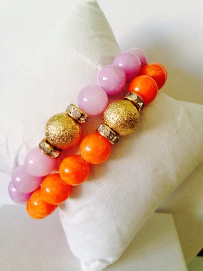 Other 2 Piece Set Orange & Pink Gemstone Agate With Gold-Tone Crystal Bead Stretch Bracelets Image 1