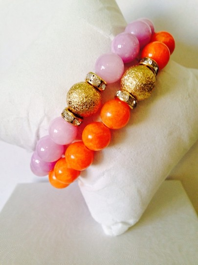 Other 2 Piece Set Orange & Pink Gemstone Agate With Gold-Tone Crystal Bead Stretch Bracelets