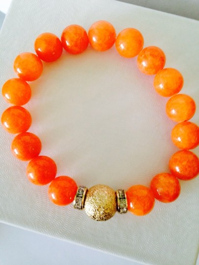 Other 2 Piece Set Orange & Pink Gemstone Agate With Gold-Tone Crystal Bead Stretch Bracelets Image 3