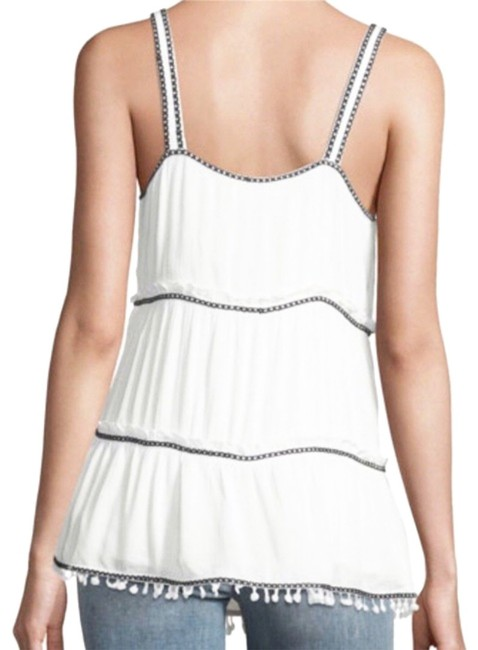 Willow & Clay Striped Embroiderey Ties At Neck Lined Scoop Neck Super Flowy Top White Green Image 1