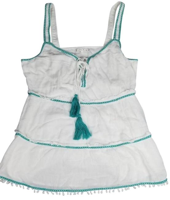 Willow & Clay Striped Embroiderey Ties At Neck Lined Scoop Neck Super Flowy Top White Green Image 2