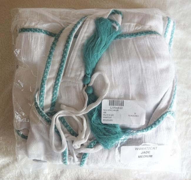 Willow & Clay Striped Embroiderey Ties At Neck Lined Scoop Neck Super Flowy Top White Green Image 9