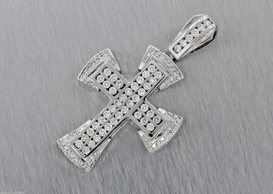 Other Stunning Solid 14k White Gold 2.10ctw Bezel Set Diamonds Cross Necklace Pendant Image 1
