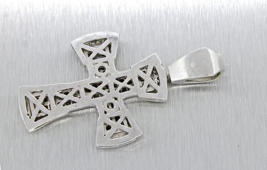 Other Stunning Solid 14k White Gold 2.10ctw Bezel Set Diamonds Cross Necklace Pendant Image 2