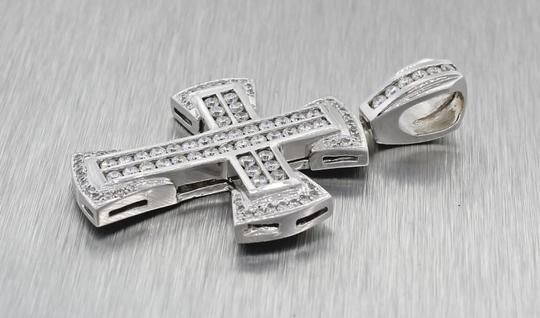 Other Stunning Solid 14k White Gold 2.10ctw Bezel Set Diamonds Cross Necklace Pendant Image 3
