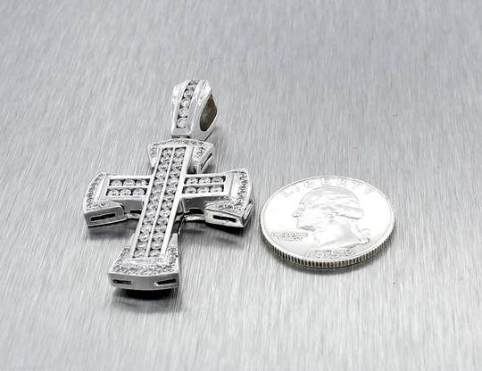 Other Stunning Solid 14k White Gold 2.10ctw Bezel Set Diamonds Cross Necklace Pendant Image 4