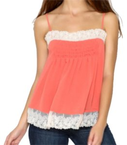 Willow & Clay Super Flowy Square Neck Lace Trim Smocked Bodice Pleated Detailing Top Orange