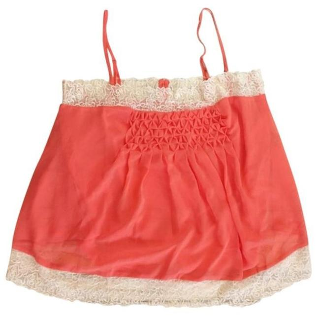 Willow & Clay Super Flowy Square Neck Lace Trim Smocked Bodice Pleated Detailing Top Orange Image 1