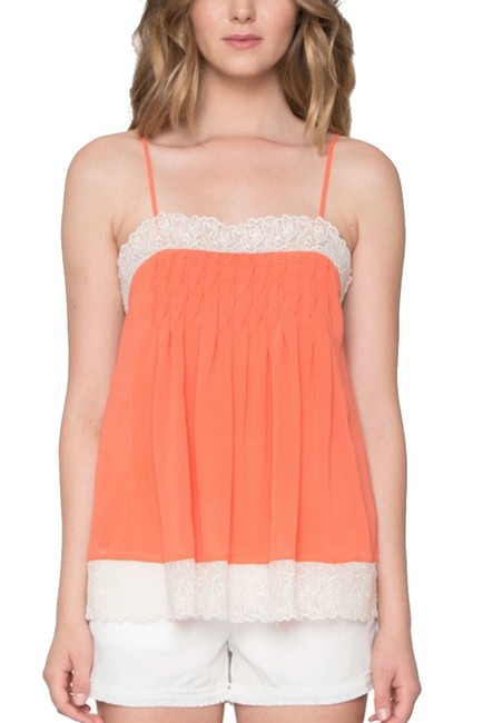 Willow & Clay Super Flowy Square Neck Lace Trim Smocked Bodice Pleated Detailing Top Orange Image 4