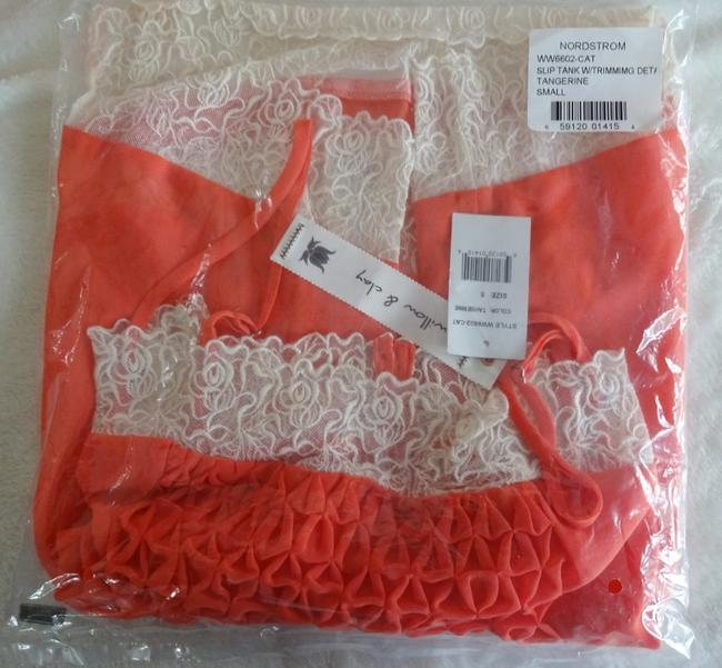 Willow & Clay Super Flowy Square Neck Lace Trim Smocked Bodice Pleated Detailing Top Orange Image 6