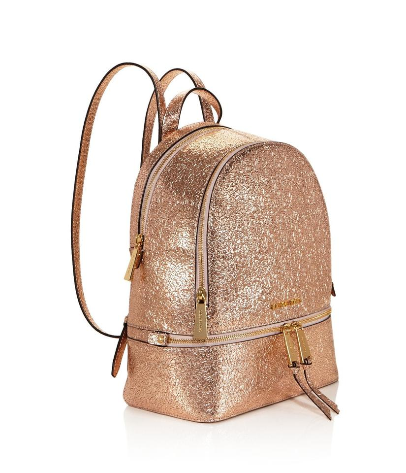 c6000957ee8f Michael Kors Rhea Leather Metallic Backpack Image 9. 12345678910