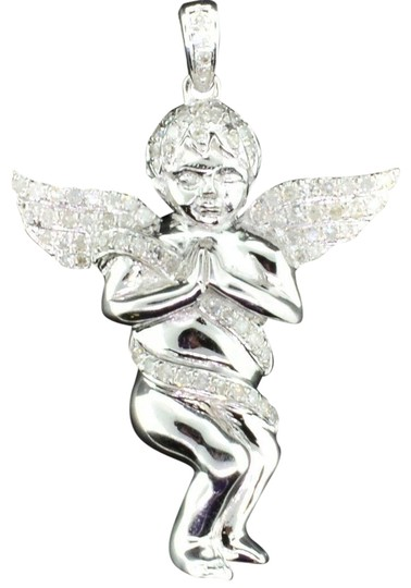 Preload https://img-static.tradesy.com/item/22836013/jewelry-for-less-silver-diamond-angel-3d-pendant-925-sterling-mini-pave-050-ct-charm-0-1-540-540.jpg