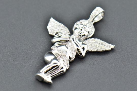 Jewelry For Less Diamond Angel 3D Pendant .925 Sterling Silver Mini Charm Pave 0.50 CT Image 3