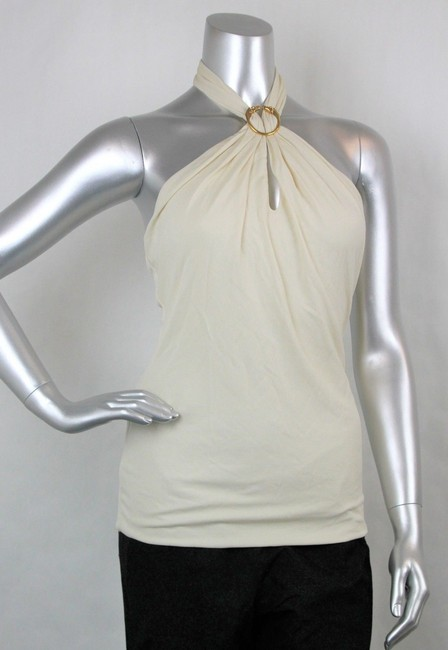 Gucci Women's Champagne Ivory Halter Top Image 1
