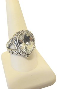 Other Bali Designs 8.07ct Pear-Cut White Topaz 2-Tone Ring Size 8